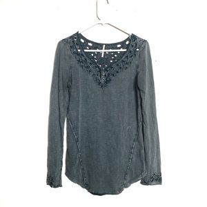 Free People Blue Luna Cut Out Long Sleeve Top